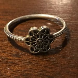 Authentic Pandora sterling silver flower ring